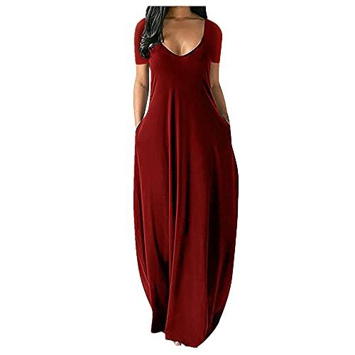 N\P Summer Plus Size Vestito lungo a maniche corte sexy a V profondo da donna Rosso XXXL