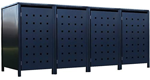 4X Tailor Mülltonnenboxen Basic für 120 Liter Tonne Stanzung 2 / Farbe komplett Anthrazit/Verschönern Sie Ihre unansehnliche Mülltonnen in Ihrem Hof und Garten!