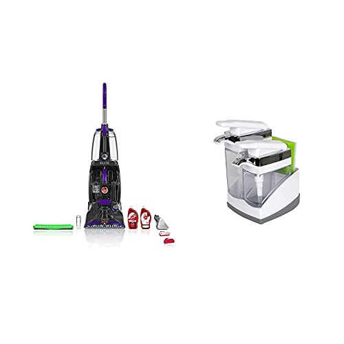 Hoover Power Scrub Elite Upright Multi Floor Carpet Tile Cleaner Machine with Casabella Chrome Plated Hand Pump Sink Sider Duo and Sponge Compartment