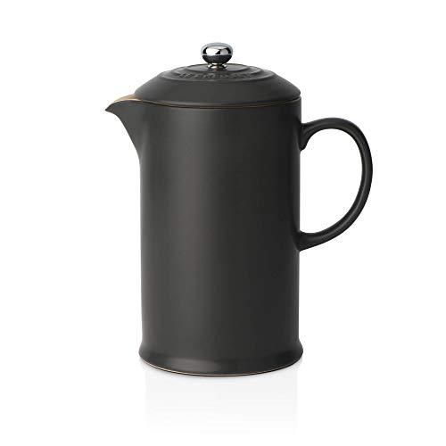 Le Creuset Kaffee-Bereiter/French Press mit Edelstahl-Presseinsatz, 800 ml, Steinzeug, Schwarz