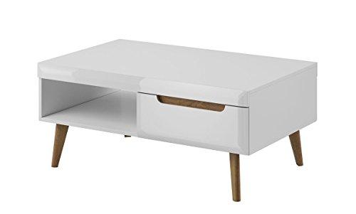 Furniture24 Couchtisch Kaffeetisch NORDI Skandinavische Stil (Weiß/Weiß Hochglanz)