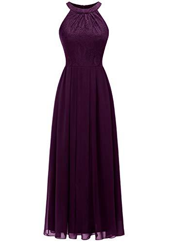 Dressystar 0040 Damen Maxi Lang Abendkleider Elegant Spitzen Ballkleid Ärmellos Hochzeit Grape M