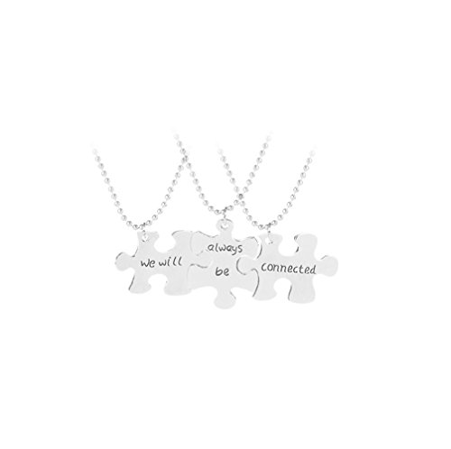 ping We Will Always Be Connected 3 Pieces Set Puzzle Best Friends Necklace Set BFF Best Friend Jewelry Gift for Sister Friend (Silver)