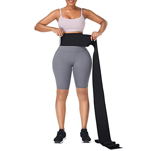 Waist Trainer Adjust Your Snatch Bandage WrapTummy Sweat Wraps Waist Trimmer Belt For Women I Belly Body Shaper Compression Wrap I Gym Accessories Black