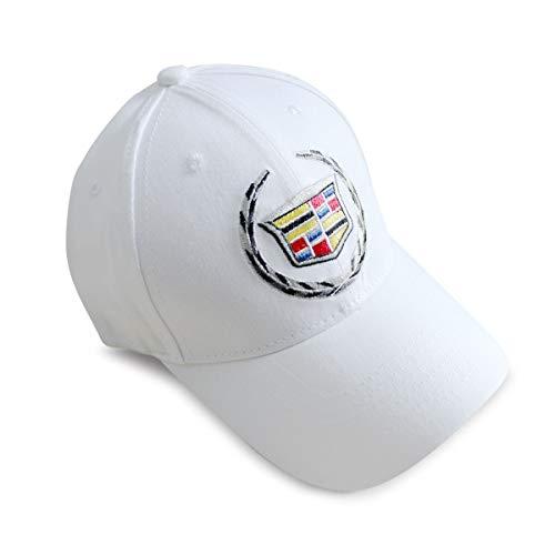 Funsport White Baseball Hat Adjustable Car Logo Cap,Unisex Hat Travel Cap Car Racing Motor Cap for Car Accesssories (Fit Cadillac)