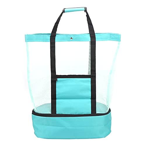 Bolso de mano de gran tamaño, bolso de playa de malla grande, asas mejoradas duraderas plegables para picnic de compras en la playa, camping(green)