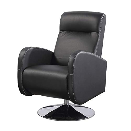 Living, Sillón Relax Giratorio, Butaca Descanso, Tapizado en símil Piel Color Negro, Medidas: 70 cm (Ancho) x 77 cm (Fondo) 102 cm (Alto)