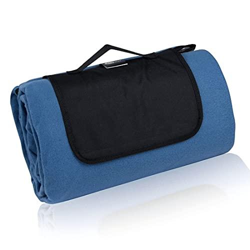 your GEAR Blue XL Picknickdecke 200x200 Camping Fleece Decke wasserdichte & isolierte Stranddecke