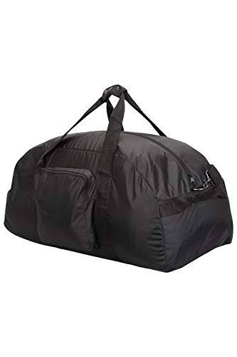 Mountain Warehouse Large Packaway Duffle Bag - Lightweight Duffel Bag, Durable Hand Luggage, Lockable Zips, Detachable Straps - For Travelling, Camping Black