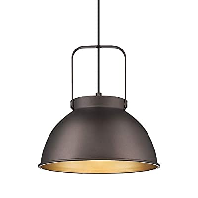 Farmhouse Dome Barn Pendant Light Height-Adjustable - HWH Industrial Nautical Hanging Light with Rustic Bowl Shape Mounted Fixture, 10'' Oil-Rubbed Bronze Finish, 5HZG12-H ORB