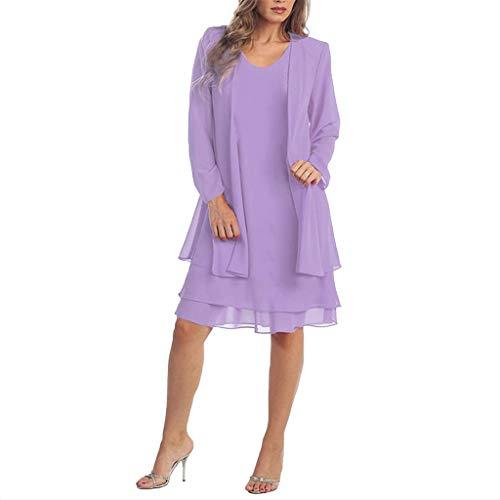 Damen Kleider Mode Baggy Freizeit Kleid Chiffon Zwei Stücke Charmante einfarbige Mutter der Braut Spitze Kleider Party täglich Maxi-Kleid Lila 3XL