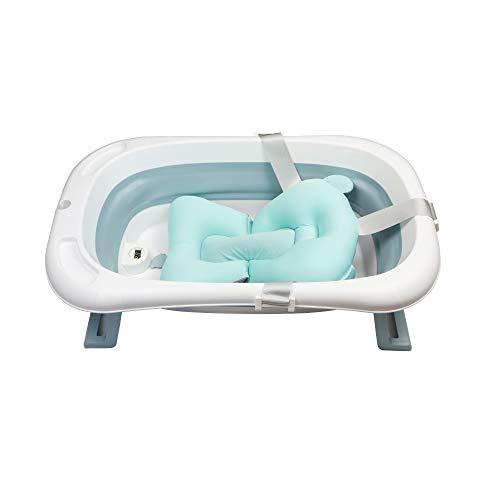 LinaSmile faltbare Baby Badewanne stabil mit Thermometer und Sitzkissen, folding bathtub, platzsparend (Blau)