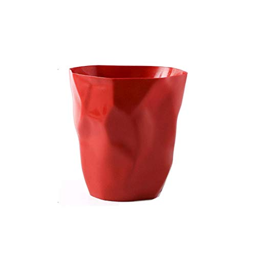 QTBH Trash Can Dustbin Creative Personality Living Room Trash Can Decorative Bedroom Kitchen Simple Storage Bucket Small Furniture Waste containers Wastepaper basket (Color : Red, Size : 7L)