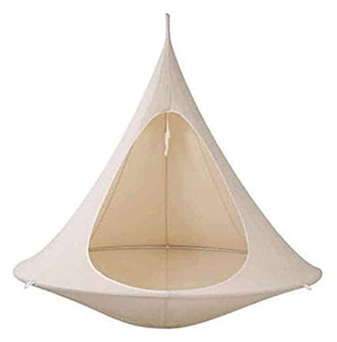 WERTYG Kids Conical Hammock Chair, Folding Camping Tent, Tree Hanging Silkworm Cocoon Indoor Outdoor Waterproof Swing Chair Garden Bed,Green ( Color : D )