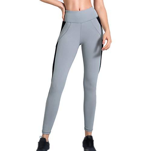YXYH Mujer Mallas Elásticos Leggings para Gimnasio Rutina Ejercicio Leggings Deportivas Ropa Respirable Cintura Alta Ropa Fitness (Color : Gray, Size : Small)