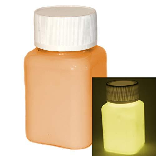 lumentics Premium Leuchtfarbe Orange 100ml - Im Dunkeln leuchtende, phosphoreszierende Farbe. Nachleuchtende UV Glühfarbe zum Malen, Basteln und Zeichnen. Selbstleuchtende Acrylfarbe mit Glow-Effekt.