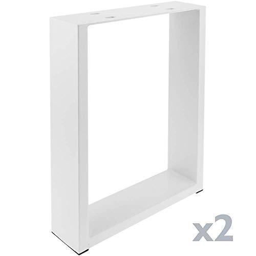 PrimeMatik - Rechthoekige poten voor tafel en bank Poten in wit staal 300 x 80 x 430 mm 2-pack