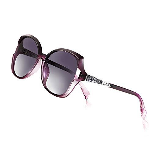 PORPEE Sonnenbrille, 2020 Polarisierte Sonnenbrille Damen Übergroßer Rahmen Vintage mit Diamanteinlagen-Technologie - Polarisierte Nylon-Linse | UV400-Schutz - 6 Farbe