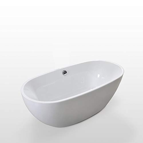 Lowest Prices! 67 Freestanding white bathtub with overflow contemporary soaking tub Carol
