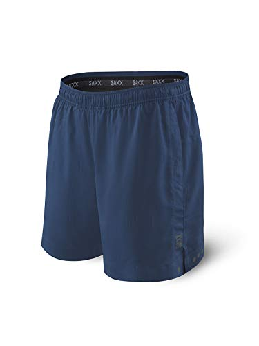 Saxx Men's Athletic Shorts – Kinetic 2N1 Sport Shorts - Men's Workout, Running and Training Shorts – Breathable Lined Active Shorts with Pockets,Velvet Blue,Large
