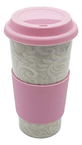 Upper Drawer 16 oz Ceramic Double Wall Insulated Travel Mug with 100% Silicone Lid (Light Paisley with Pink Lid)