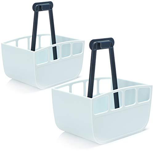 com-four® 2X Wäscheklammer-Körbchen - Klammerbeutel im Gondel-Design - Wäscheklammern Beutel zum Aufhängen