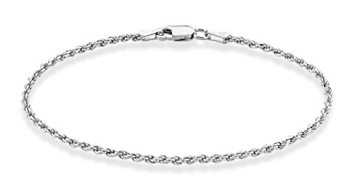 Miabella Solid 925 Sterling Silver Italian 2mm, 3mm Diamond-Cut Braided Rope Chain Bracelet for Women Men 6.5, 7, 7.5, 8, 8.5 Inch Made in Italy (2mm, 7.0 Inches (6'-6.25' wrist size))