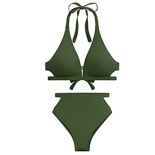 SHE.White Damen Einfarbig Sommer Bikini Set Push-Up BH Badeanzug Swimsuit Badebekleidungs Schwimmanzug Strandmode Bikinioberteil Bademode Badenanzug Push Up Bikini Set Schwimmanzug