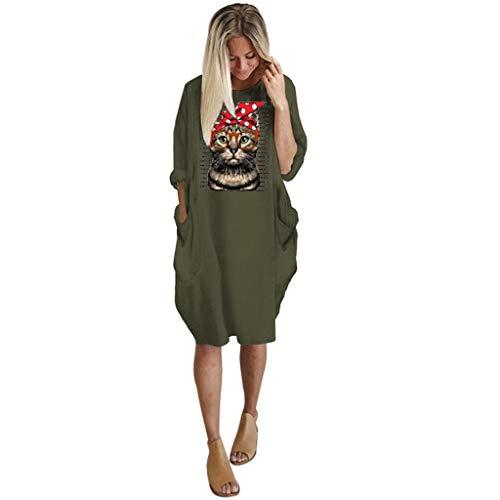 manadlian Mini Robe pour Femmes Robe de Plage Imprimée Chemise Grande Taille Shirt Dress à Manches Longues Robes de Soirée Clubbing 2020 Nouveau