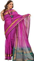 Exótico India Jacinto Violeta y Verde Solid Sari de Chennai con Zar - Morado