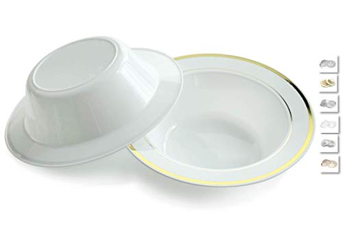 OCCASIONS 120 Bowls Pack, Heavyweight Disposable Wedding Party Plastic Dessert Ice Cream Bowls (6 oz Ice cream bowls, White & Gold Rim)