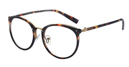 ALWAYSUV Retro Metall Steg Klare Linse Rund Optische Stärke Rahmen Brillenfassung