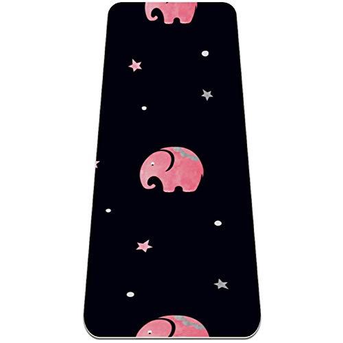 Alfombra de yoga con elefantes color rosa y gris, respetuosa con el medio ambiente, antideslizante, para yoga, pilates y ejercicios de piso, 183 x 81 cm