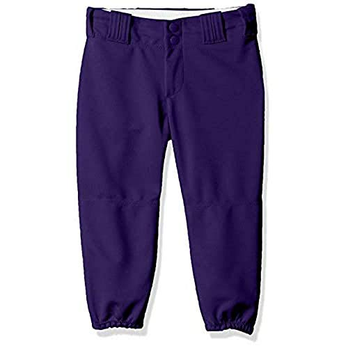 Alleson Athletic Girls Belt Loop Fastpitch Pant, Purple, Small