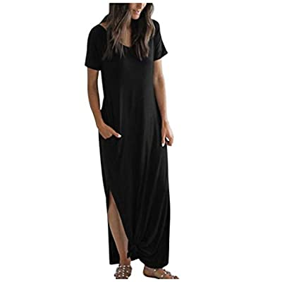Muranba Womens Dresses Sexy Casual Solid Pocket Daily Round Neck Split Beach Work Long Dress