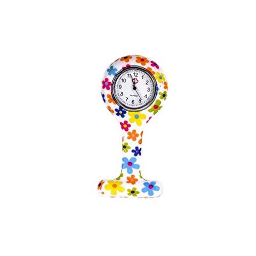 Moda Floral Clip De La Enfermera De Tipo T Fob De La Broche De La Jalea del Silicón del Reloj Colgante De Bolsillo De La Solapa del Reloj Mujer Chica