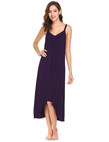 Ekouaer Womens Sleeveless Long Nightgown Summer Slip Night Dress Cotton Sleepshirt Chemise, A-dark Violet_6696, Large