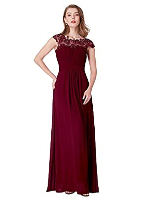 Ever-Pretty Maxi Long Wedding Guest Dresses for Women 18 US Burgundy