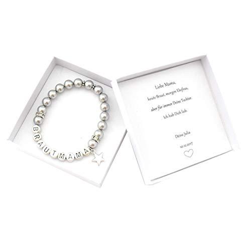 Brautmutter Geschenk Armband Perlen, Geschenkbox Brautmama