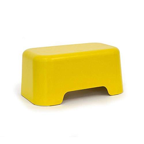 EKOBO Bano Kinder-Tritthocker, 33 x 21 x 15 cm, Anti-Rutsch-Oberfläche, Kinder Hocker, Kinderschemel, Kleinkind Tritthocker (Lemon)