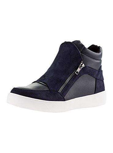 oodji Ultra Mujer Zapatos con Cremalleras y Acabado de Ante Sintético, Azul, 37 EU / 4 UK