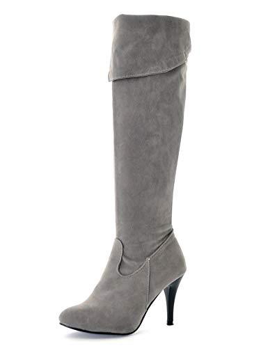 Minetom Mujeres Tacón De Aguja Zapatos Moda Invierno PU Cuero Largas Tacón Alto Botas hasta Las Rodillas Cremallera Boots de Montar