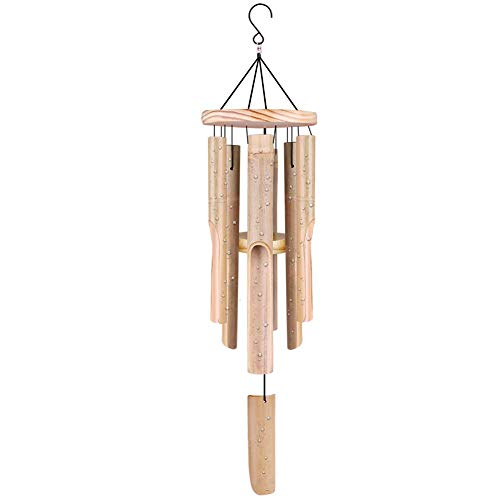 "Remiawy Wind Chimes Outdoor, Bamboo Wind Chime with Natural Relaxing Soothing Sound, 6 Hand-Carved Bamboo Tubes and a Hook(32"" Overall Length)"