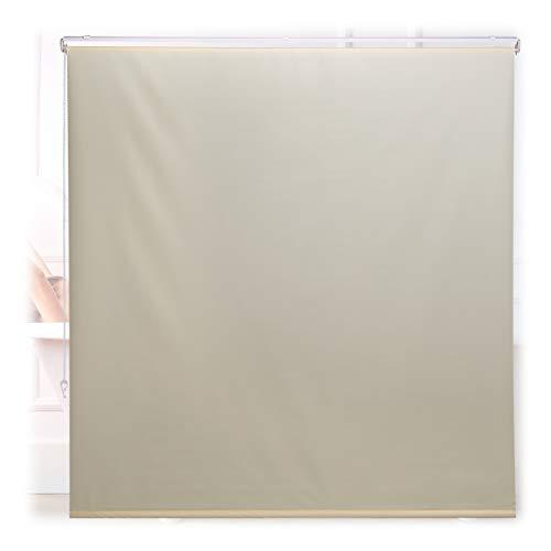 Relaxdays Duschrollo, 160x240 cm, Seilzugrollo für Dusche & Badewanne, Decke & Fenster, Badrollo wasserabweisend, beige, 10034184_1049