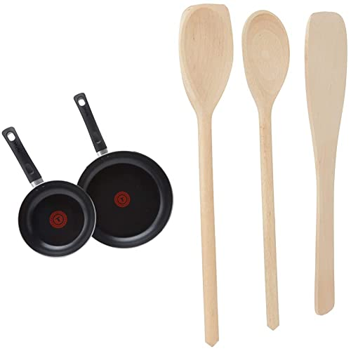 Tefal Aluminium Non-Stick 20cm & 28cm Frying Pan Twin Pack, Black & Tala Hardwearing Wooden Spatula Set