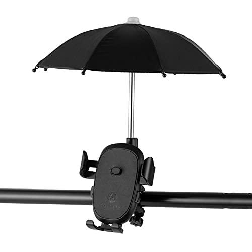 Bonito soporte de teléfono para bicicleta con mini paraguas, soporte de teléfono para manillar de bicicleta, soporte para sombrilla al aire libre, color negro