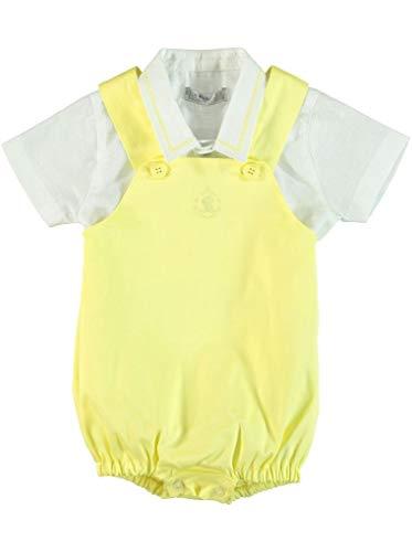 Monna Rosa Milano Peuter Baby Jongen Zomer Katoen Salopet met Katoen Linnen Shirt Geschikt voor 6-24 Maanden Casual Ceremony Stijlvolle Premium Outfit