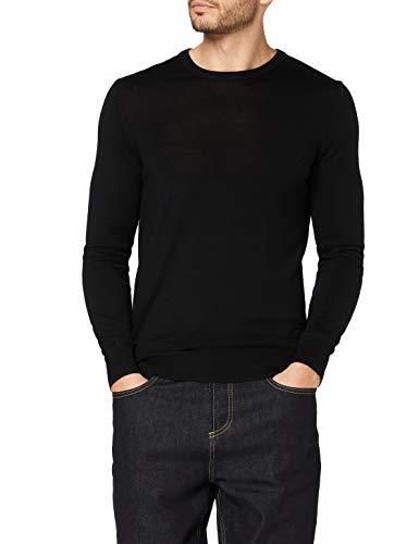 Amazon-Marke: MERAKI Merino-Pullover Herren mit Rundhals, Schwarz (Black), M, Label: M
