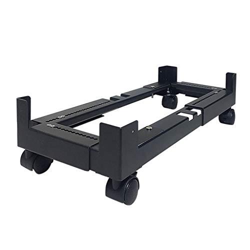 jinrun CPU Stand Mobile CPU Stand Desktop Host Floor Bracket Chassis Metal Base Cooling Bracket Adjustable Mobile Cart Holder with Locking Caster Wheels Black Monitor Stand (Size : Large size)