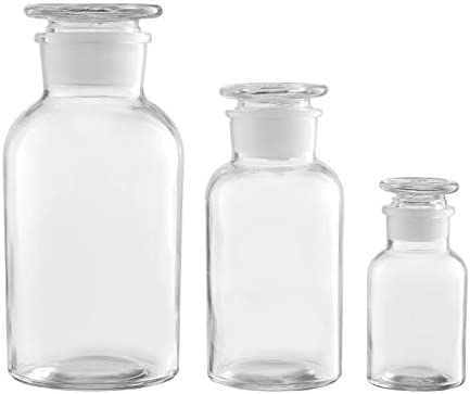 KMwares 3PCs Set 34oz 17oz 4oz Vintage Botany Apothecary Jars Scientific Lab Reagent Decorative product image